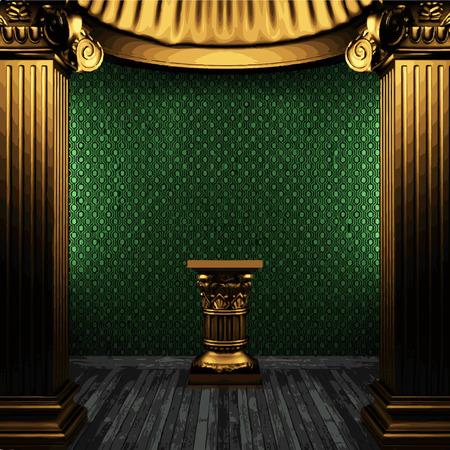 zuilen: vector golden columns and arch Stock Illustratie