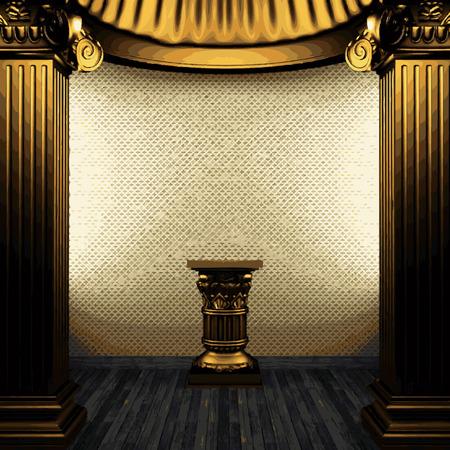 pilaster: vector bronze columns, pedestal and wallpaper