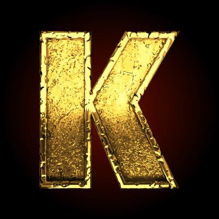 letras negras: k vectores carta de oro