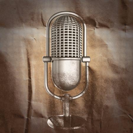 microfono antiguo: Micr�fono retro en el papel pintado Foto de archivo