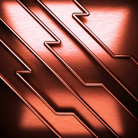 stainless steel sheet: red brushed metal background Stock Photo