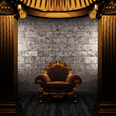 pilaster: vector stone wall and golden columns Stock Photo