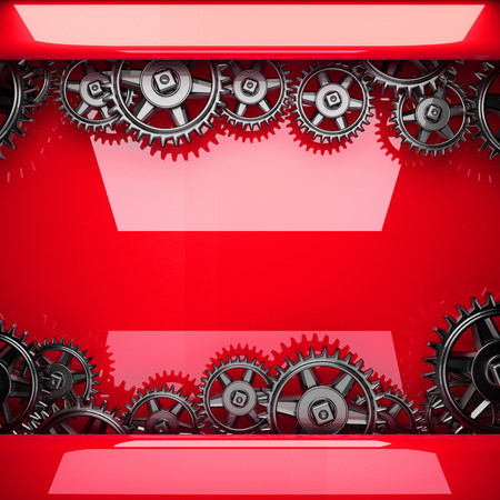 red metal: red metal background with cogwheel gears Stock Photo