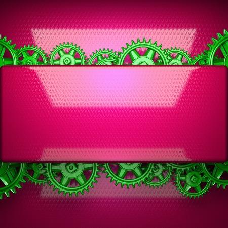 cogwheel: red metal background with cogwheel gears Stock Photo