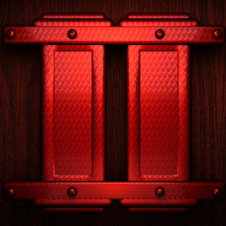 stainless steel sheet: red pollished metal on wooden bachkround