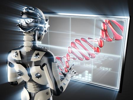 thymine: cyborg woman and DNA on hologram display
