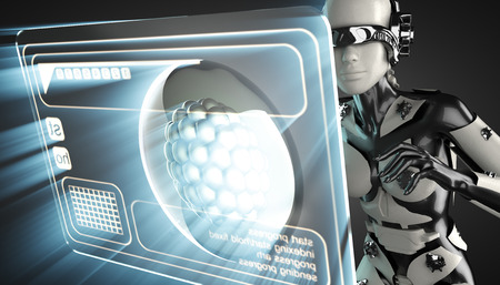 zygote: cyborg woman and cell on hologram display Stock Photo