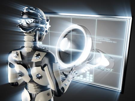 organise: cyborg woman and megaphone on hologram display Stock Photo
