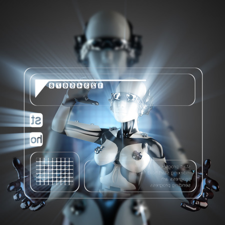 cyborg: cyborg woman and hologram display Stock Photo