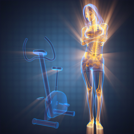 health woman: woman bones radiography in gym room