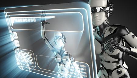 hologram: cyborg woman and hologram display Stock Photo