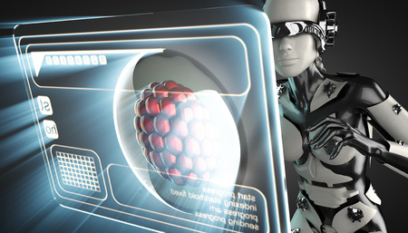 cyborg: cyborg woman and cell on hologram display Stock Photo