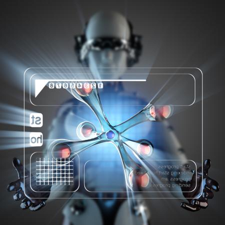 hologram: cyborg woman and atom on hologram display