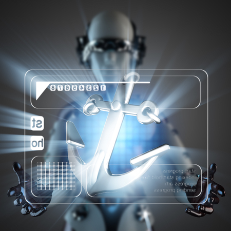 cyborg: cyborg woman and anchor on hologram display Stock Photo