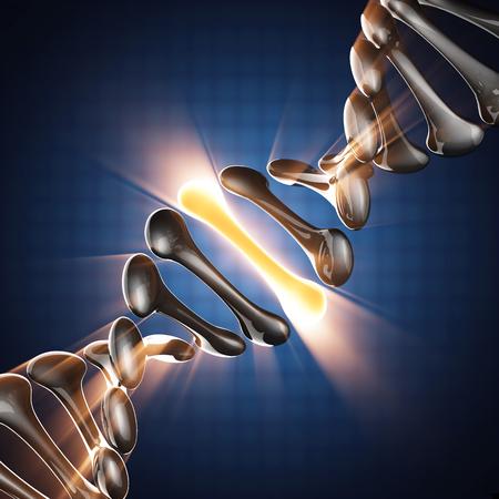 adn humano: Modelo de ADN en el fondo azul