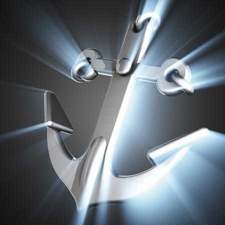 metallic: metallic anchor on gray background