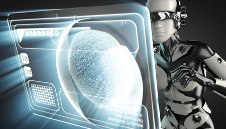 procreation: cyborg woman and cell on hologram display Stock Photo