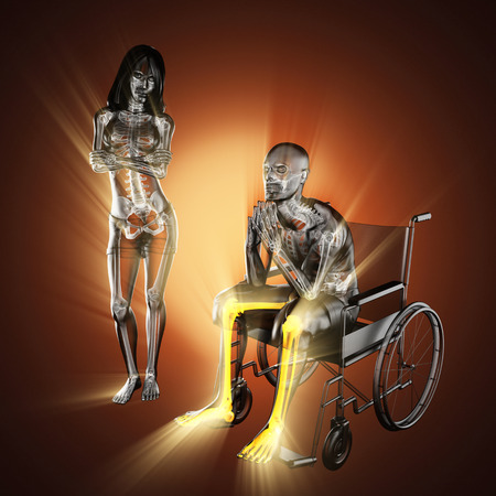 radiography: radiography of man in wheelchair
