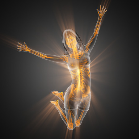roentgen: woman bones radiography scan image