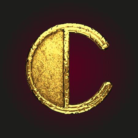 solid figure: c vector golden letter Vettoriali