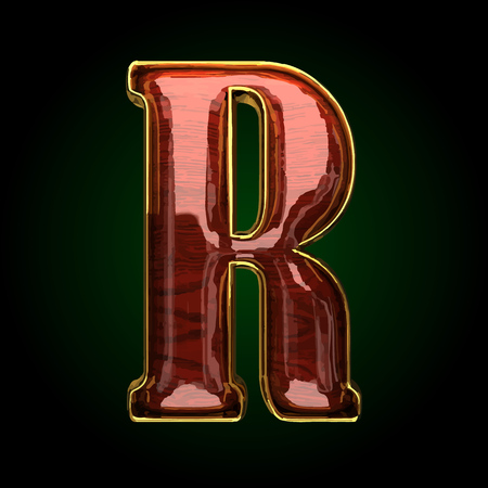 polished wood: r vector golden letter with red wood Illustration