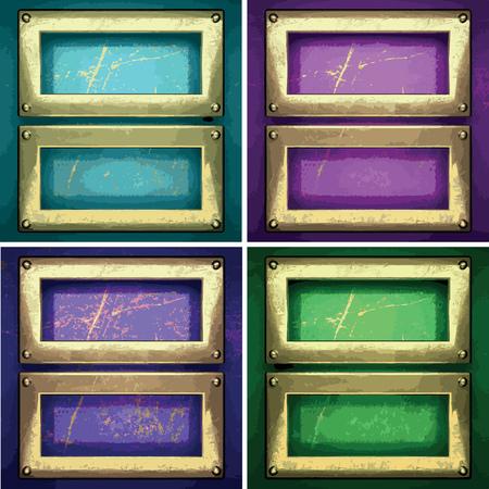 valuables: vector color painted golden background set Illustration