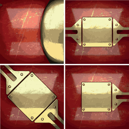 gilding: vector golden background painted in red