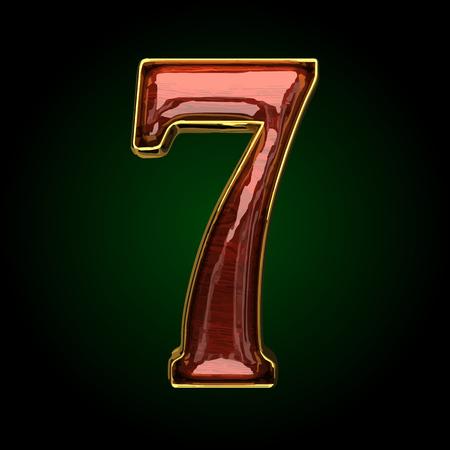 polished: 7 vector golden letter with red wood Illustration
