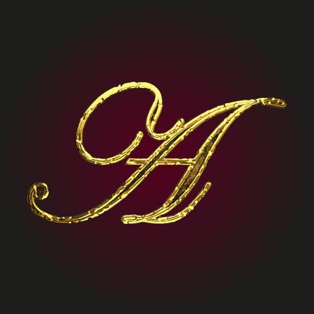 solid figure: a vector golden letter Vettoriali