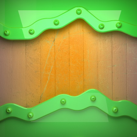 yellow tacks: green metal and yellow wood background Stock Photo