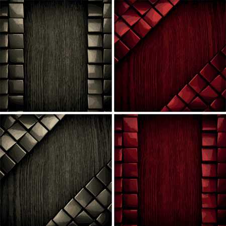 red metal: vector pollished metal on wooden background set