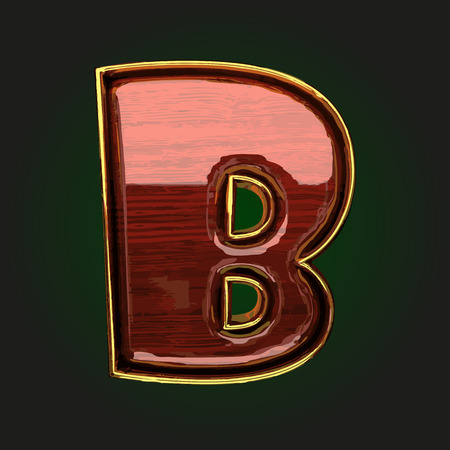 polished: b vector golden letter with red wood