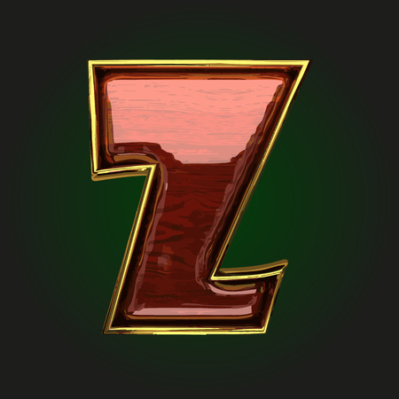 polished wood: z vector golden letter with red wood Illustration