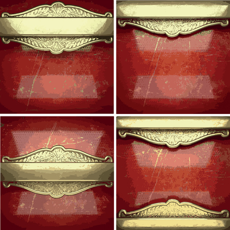 valuables: vector golden background painted in red