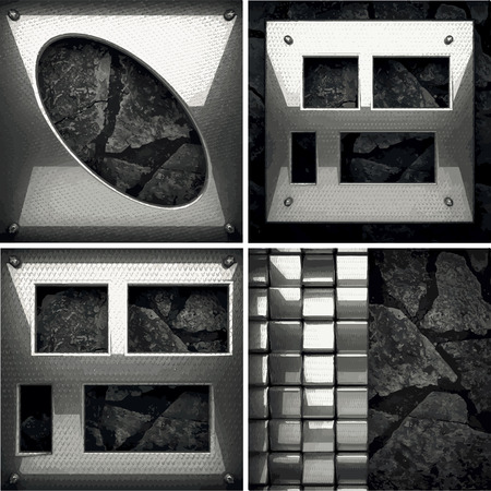 ironworks: vector metal and stone background set Illustration