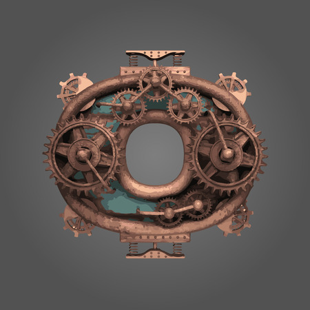 o vector rusted letter with gears Ilustração