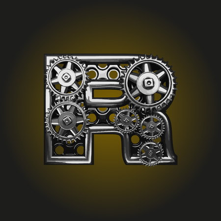 matted: r vector letter with gears Illustration