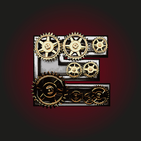 matted: e vector letter with gears Illustration