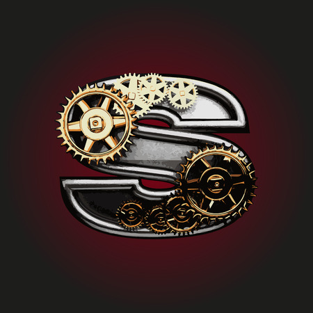 matted: s vector letter with gears Illustration