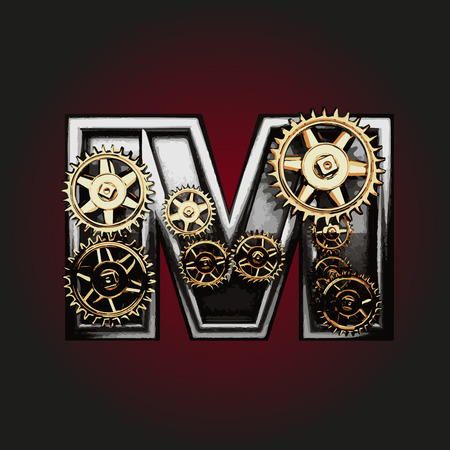 matted: m vector letter with gears Illustration