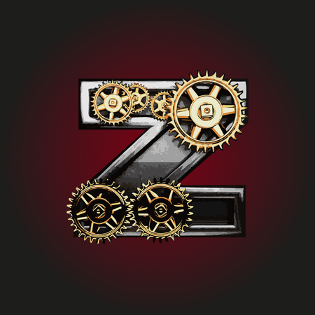 matted: z vector letter with gears
