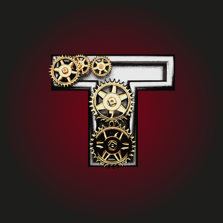 matted: t vector letter with gears Illustration