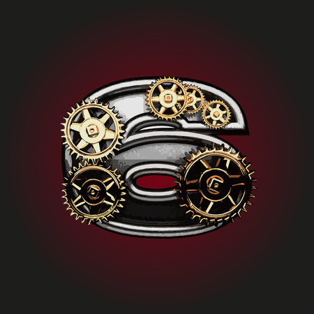 matted: 6 vector letter with gears