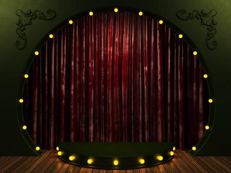 roten Samtvorhang Bühne mit Lichtern