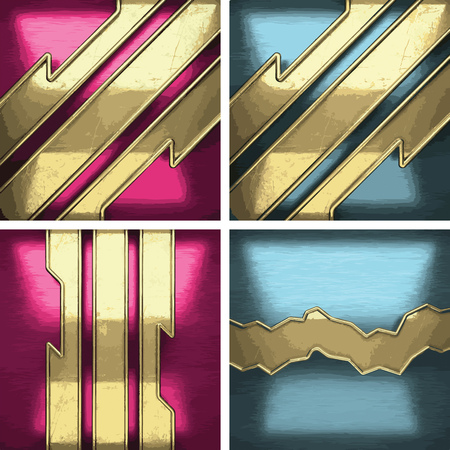 metal background set with golden element