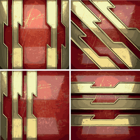 gilding: golden background painted in red Illustration