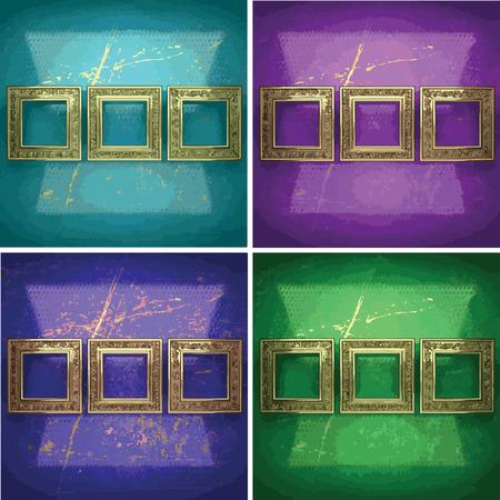 gilding: color painted golden background set
