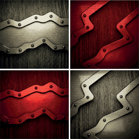 ironworks: polished metal on wooden background set