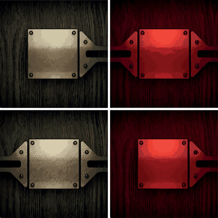ironworks: vector pollished metal on wooden background set