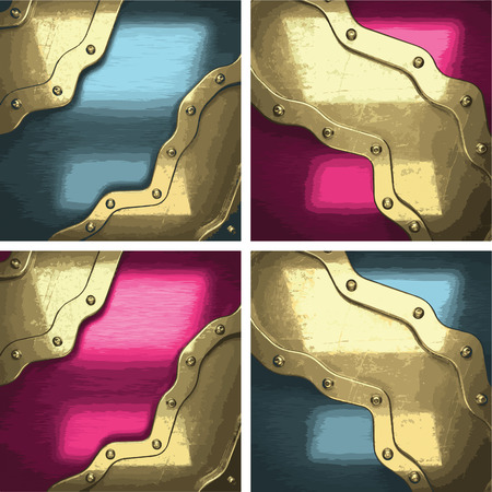 titanium: vector metal background set with golden element Illustration